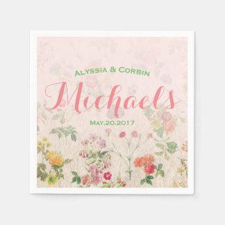 Réception de mariage rose romantique florale serviette en papier