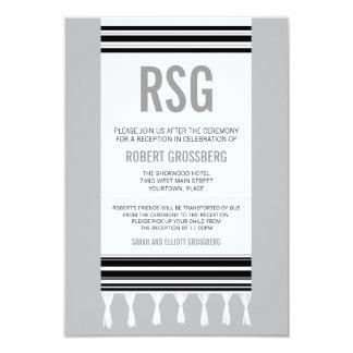 Réception grise noire de Mitzvah de barre de Carton D'invitation 8,89 Cm X 12,70 Cm
