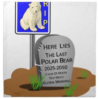 Réchauffement climatique, ours blanc 2050 de serviettes de table