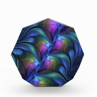 Récompense Fractale verte rose bleue abstraite lumineuse