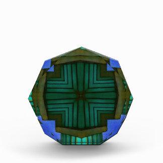Récompense Motif symétrique linéaire frais de vert bleu