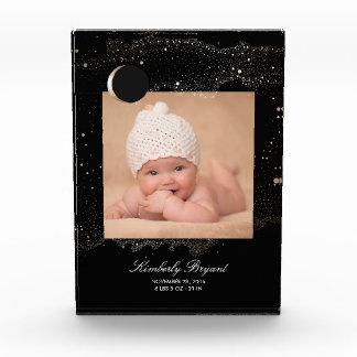 Récompense Noir et bébé de photo de lune de nuit étoilée d'or