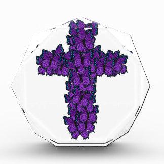 Récompense pourpre d'octogone de croix de papillon