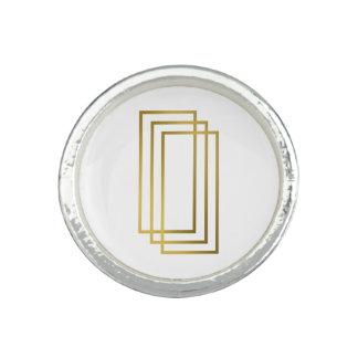 rectangles géométriques d'or clair élégant bagues
