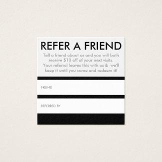 référez-vous un carré d'ami carte de visite carré
