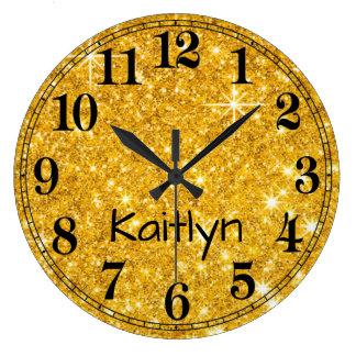 Regard de parties scintillantes d'or grande horloge ronde