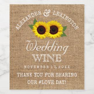 Regard de toile de jute et mariage campagnard étiquette pour bouteilles de vin