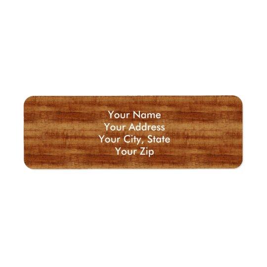 Regard du bois de grain d'acacia bouclé de Koa Étiquette D'adresse Retour