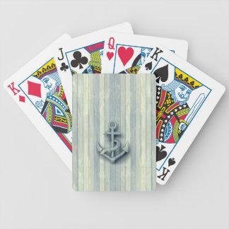 Regard en bois d'ancre chique nautique vintage jeux de cartes