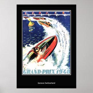 Régate vintage de vitesse d'affiche de voyage poster
