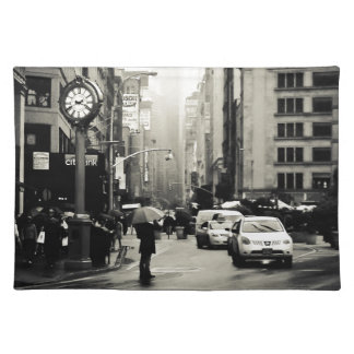 Regen in de Stad van New York - Vintage Stijl Onderlegger