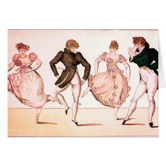 Regency vintage et carte de danse de période de