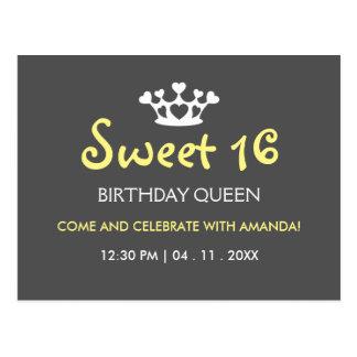 Reine d'anniversaire de sweet sixteen - invitation