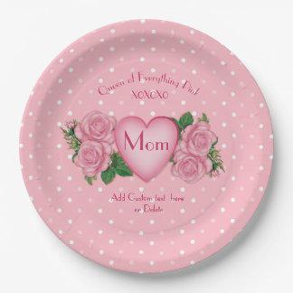 Reine de tout maman de rose assiettes en papier
