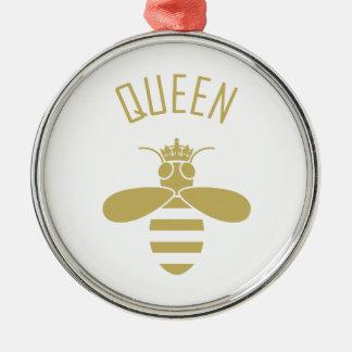 Reine des abeilles ornement rond argenté