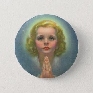 Religion vintage, fille angélique avec la prière badge rond 5 cm