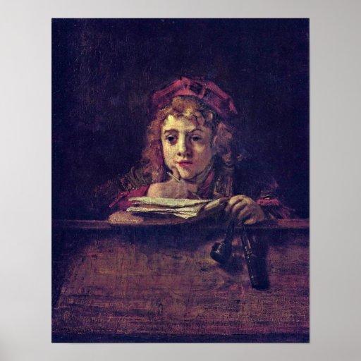 Rembrandt van Rijn - Portret van Titus Print