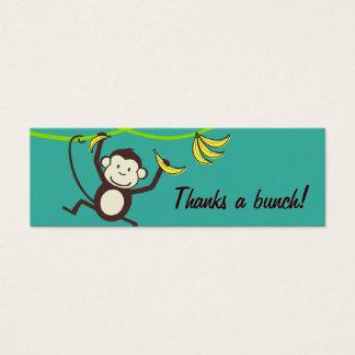 Remercie un groupe, étiquettes de cadeau de singe mini carte de visite