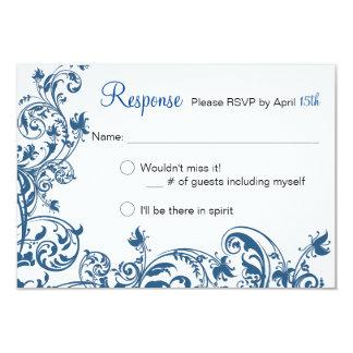 Remous bleu d'élégance décontractée épousant la carton d'invitation 8,89 cm x 12,70 cm
