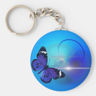 Remous bleus de papillon porte-clés