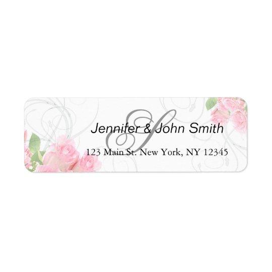 Remous de rose de rose épousant des invitations étiquette d'adresse retour