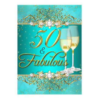 Remous turquoise 50 de perle et d'or de mer et carton d'invitation  12,7 cm x 17,78 cm