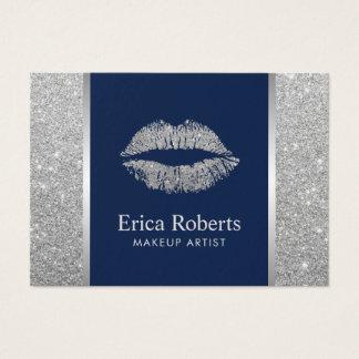 Rendez-vous argenté de maquilleur de lèvres de cartes de visite