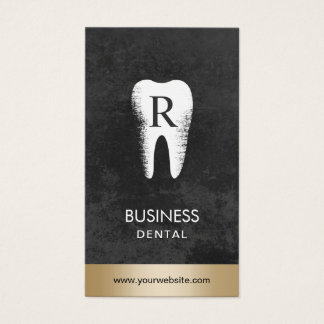 Rendez-vous dentaire d'or d'initiale de dent de cartes de visite