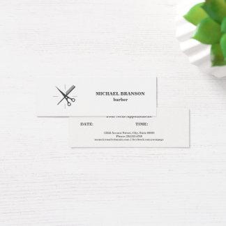 Rendez-vous gris minimaliste de peigne de ciseaux mini carte de visite