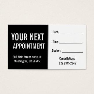 Rendez-vous médical de patient hospitalisé de cartes de visite