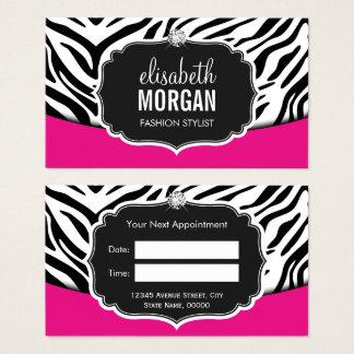 Rendez-vous noir rose à la mode d'impression de cartes de visite