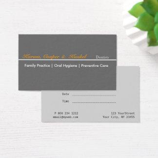 Rendez-vous professionnel minimaliste de dentiste cartes de visite