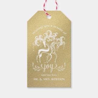 Renne élégant de vacances - scintillement d'or de étiquettes-cadeau