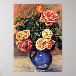 Renoir - roses dans un vase bleu poster