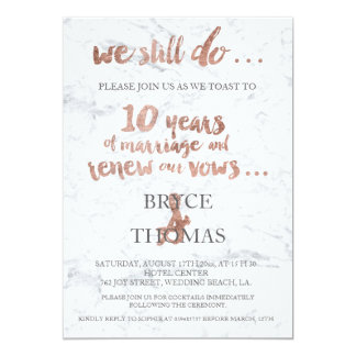 Renouvellement rose de voeu de marbre de carton d'invitation  12,7 cm x 17,78 cm