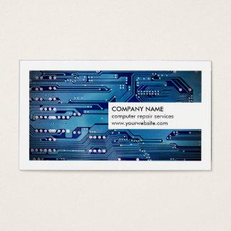 Réparation bleue blanche moderne d'ordinateur de cartes de visite