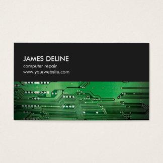 Réparation verte grise simple d'ordinateur de bord cartes de visite