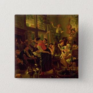 Repas de famille (huile sur la toile) badge carré 5 cm