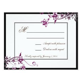Réponse florale blanche RSVP de mariage de fleur Carton D'invitation 10,79 Cm X 13,97 Cm