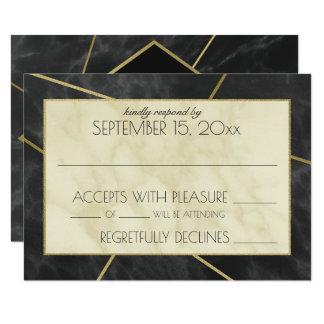Réponse géométrique moderne de mariage de marbre carton d'invitation 8,89 cm x 12,70 cm