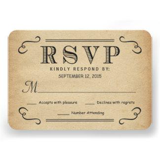 Réponse rustique de mariage de typographie vintage cartons d'invitation personnalisés