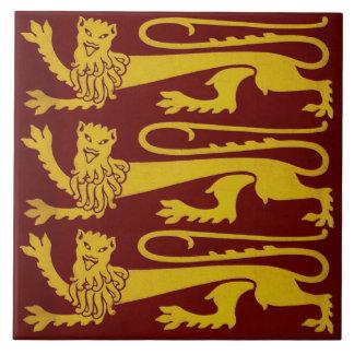 Reproduction gothique de 1850s de tuile de lions carreau