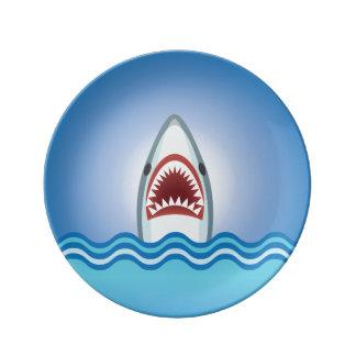 Requin drôle assiettes en porcelaine
