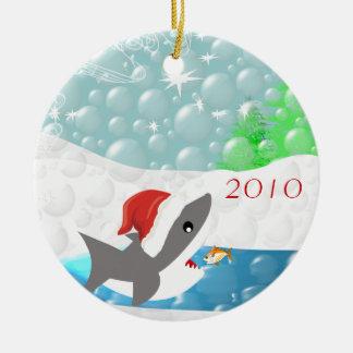 Requin en ornement de Noël de casquette de Père