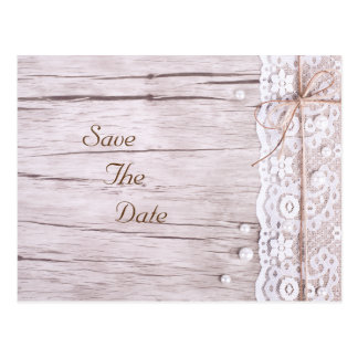 Réservez la date--Dentelle et bois Carte Postale