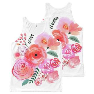 Réservoir unisexe de fleurs mignonnes roses débardeur tout-imprimé