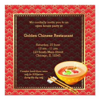 Restaurant de Chinois d'ouverture officielle Carton D'invitation 13,33 Cm