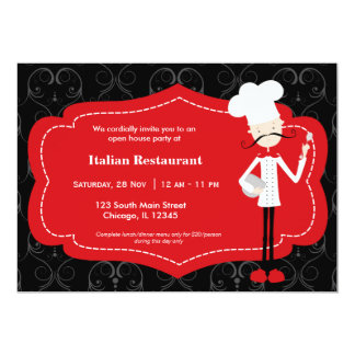 Restaurant supérieur de chef carton d'invitation  12,7 cm x 17,78 cm