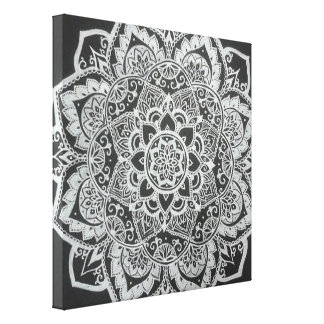 Résumé floral noir et blanc de Bohème Toiles