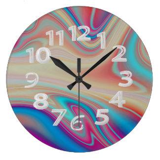 Résumé multicolore grande horloge ronde